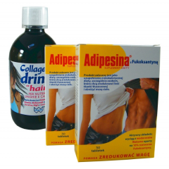 ADIPESINA 2 x 30 TABLETEK + COLLAGENE DRINK HAIR 500 ML GRATIS