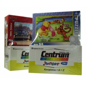 CENTRUM JUNIOR 30 TABLETEK DO ŻUCIA + PUZZLE (54 elementów)